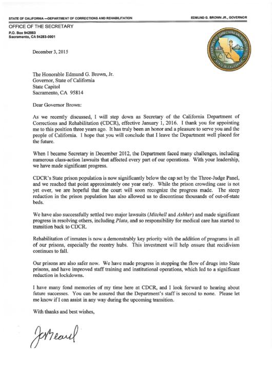 Secretary Of State Resignation Letter Sample Printable pdf