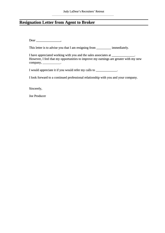 Resignation Letter Template From Agent To Broker Printable pdf