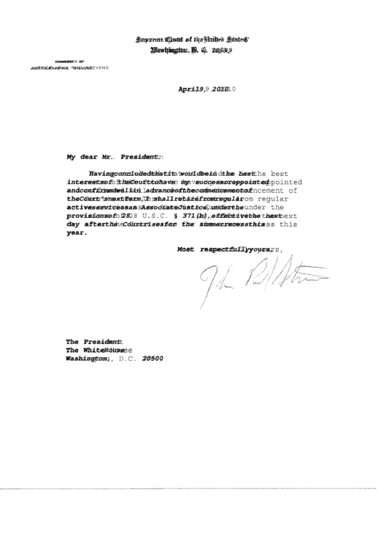 Resignation From Supreme Court Sample Printable pdf