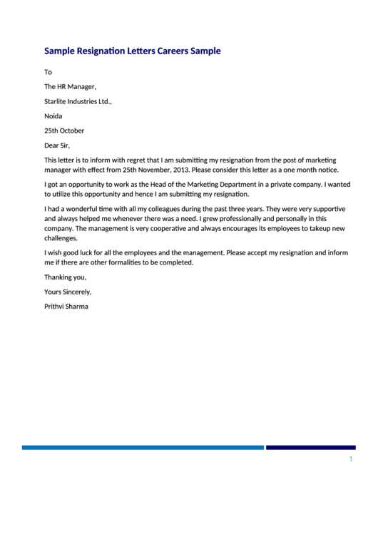 Resignation Letter Template & Sample Letter Printable pdf