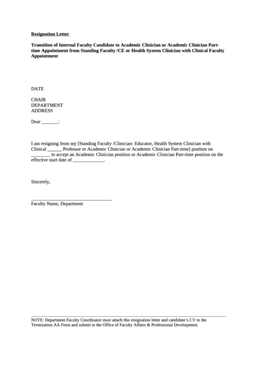 Resignation Letter Template Printable pdf