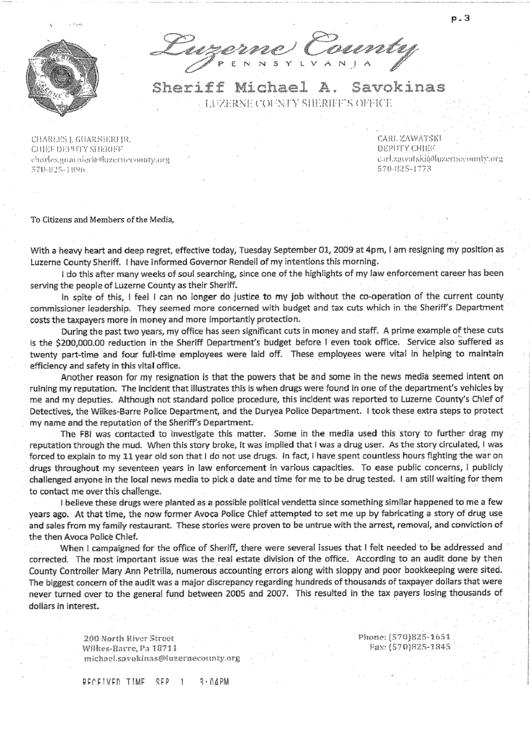 Sheriff Resignation Letter Sample