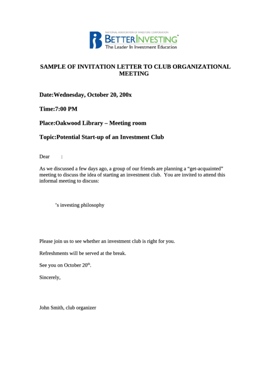 Sample Of Invitation Letter To Club Organizational Meeting