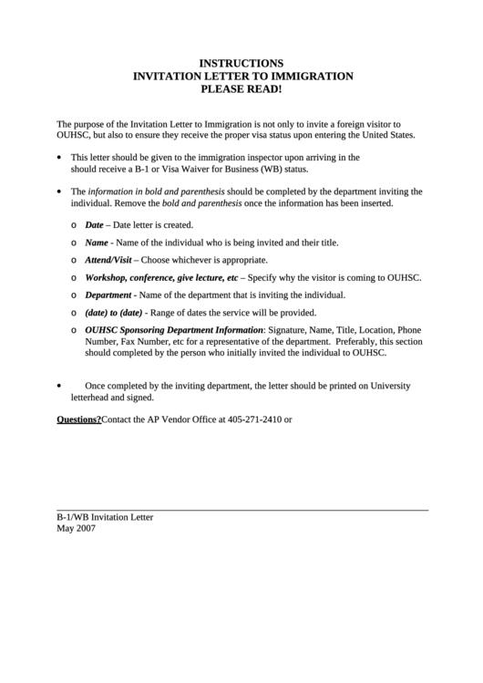Immigration Invitation Letter Template