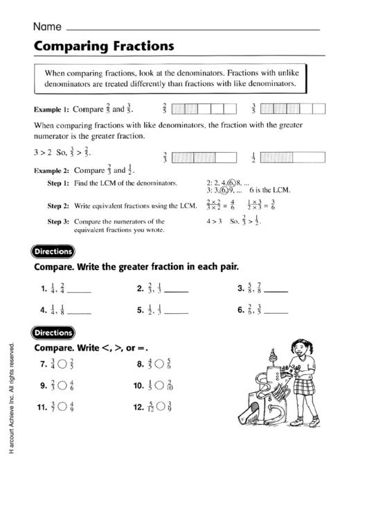 Comparing fractions worksheets pdf