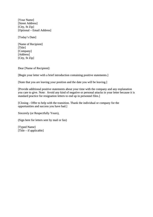 Letter Of Resignation Template Printable pdf