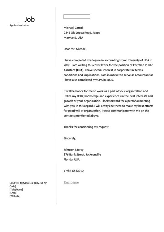 Fillable Job Application Letter Accountancy Printable pdf