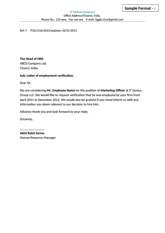 employment verification letter sample sample employment verification letter template printable 21509 | page 1 thumb big