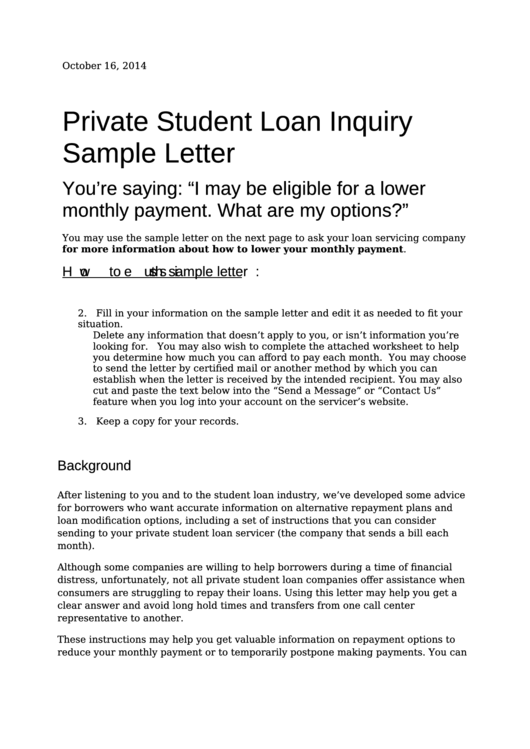 Private Student Loan Inquiry Sample Letter Printable pdf