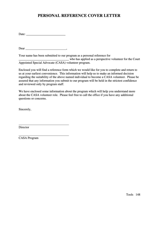 Personal Reference Cover Letter