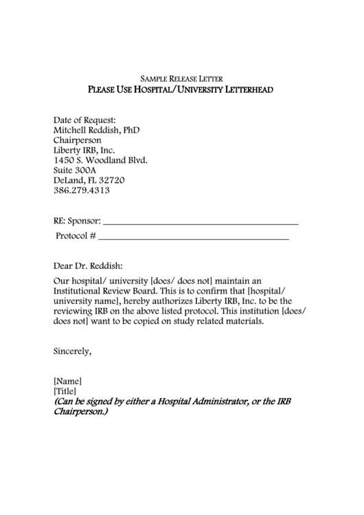 Sample Release Letter Template