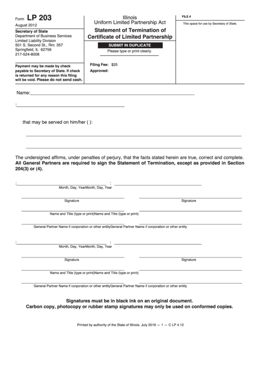 Form Lp 203 - Statement Of Termination Of Certificate Of Limited Partnership