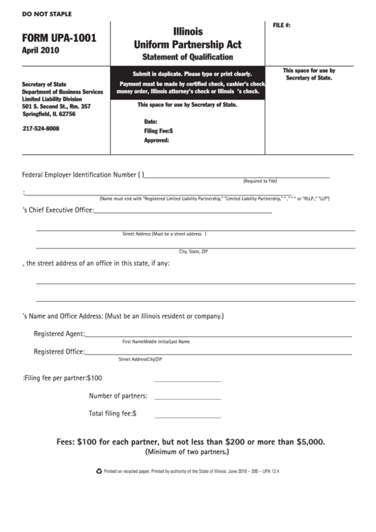 fillable form upa-1001