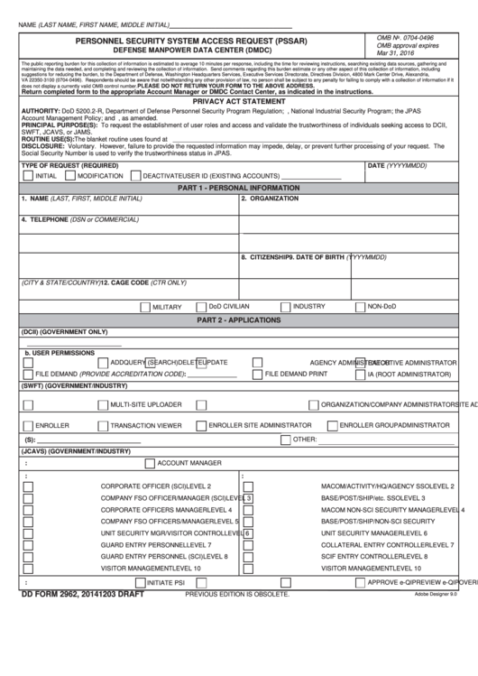 Dd Form 2962 - Personnel Security System Access Request (pssar ...