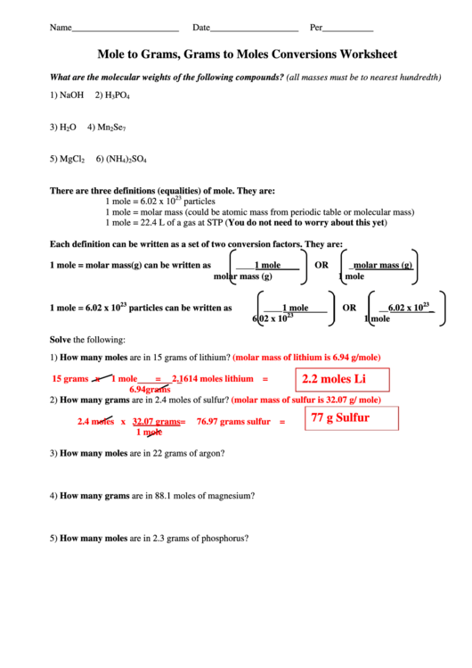 Mole Calculation Worksheet - fasrinvestment