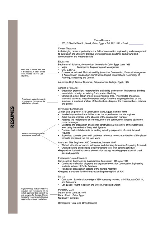 Resume Template Egypt Printable pdf