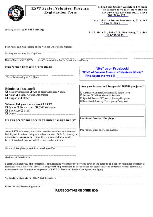 Rsvp Senior Volunteer Program Registration Form