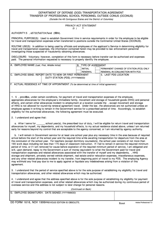 Fillable Dd Form 1616 - Department Of Defense (Dod) Transportation Agreement Transfer Of Professional School Personnel Outside Conus (Oconus) Printable pdf