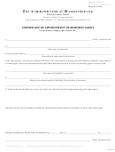 Certificate Of Appointment Of Resident Agent Form - The Commonwealth Of Massachusetts