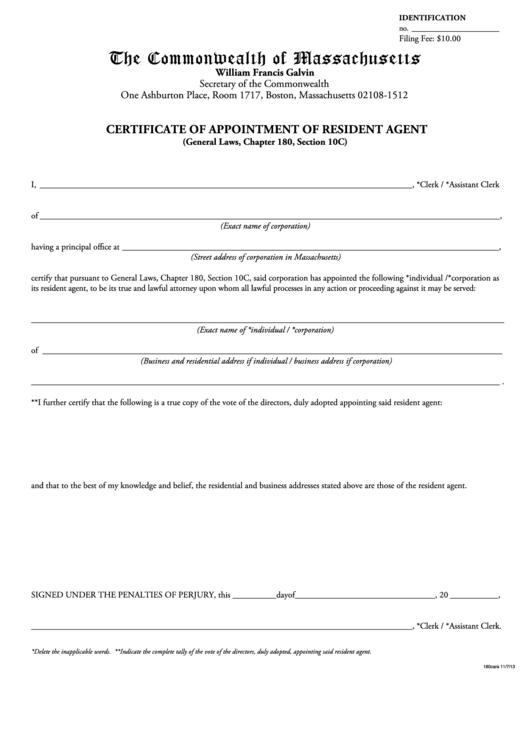 fillable certificate of appointment of resident agent form