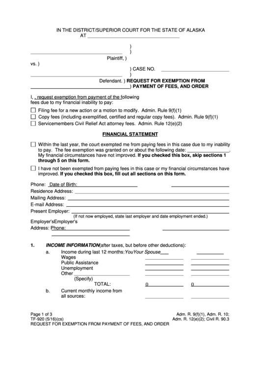 Fillable Request For Exemption From Payment Of Fees, And Order Printable pdf