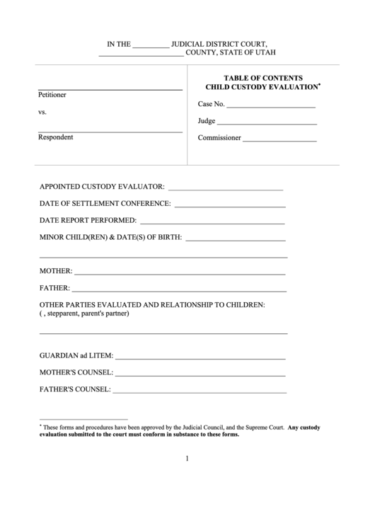 Table Of Contents Child Custody Evaluation Printable pdf
