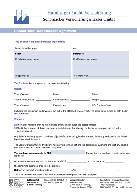 Second hand boat purchase agreement printable pdf download for Boat partnership agreement template