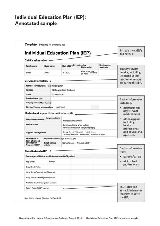 Individual Education Plan Sample