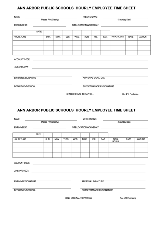 Ann Arbor Public Schools Hourly Employee Time Sheet