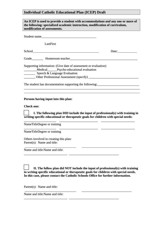 Individual Catholic Educational Plan (icep) Draft