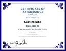Perfect Attendance Certificate Of Attendance Template - Blue