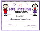 Good Attitude Certificate
