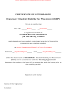 Erasmus Student Mobility For Placement Certificate Of Attendance
