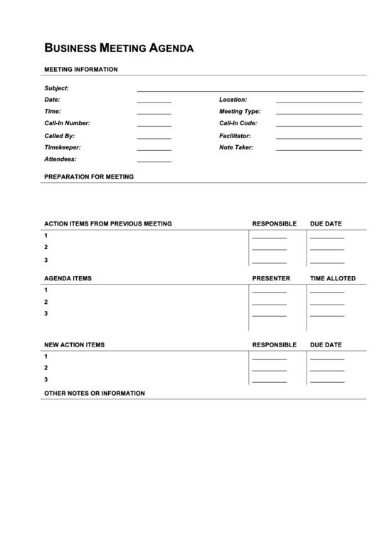 business meeting agenda template pdf