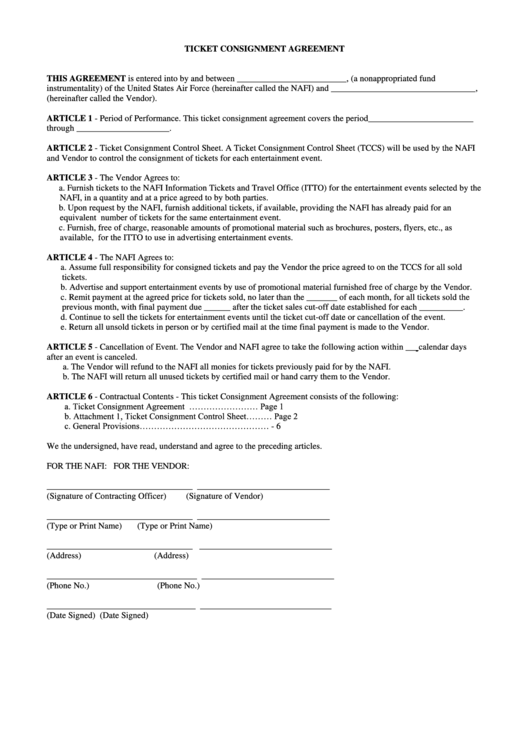 Ticket Consignment Agreement Printable pdf