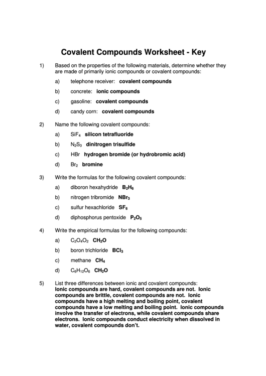 Covalent Compounds Worksheet Answer Key Template Printable Pdf Download