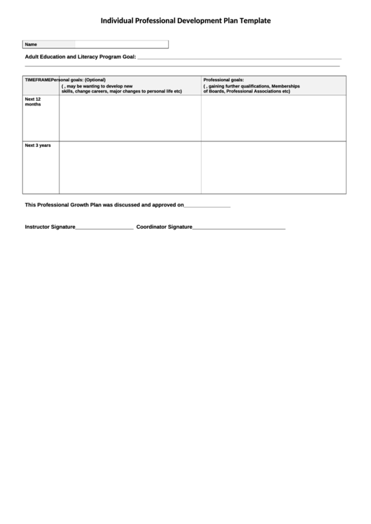 Individual Professional Development Plan Template