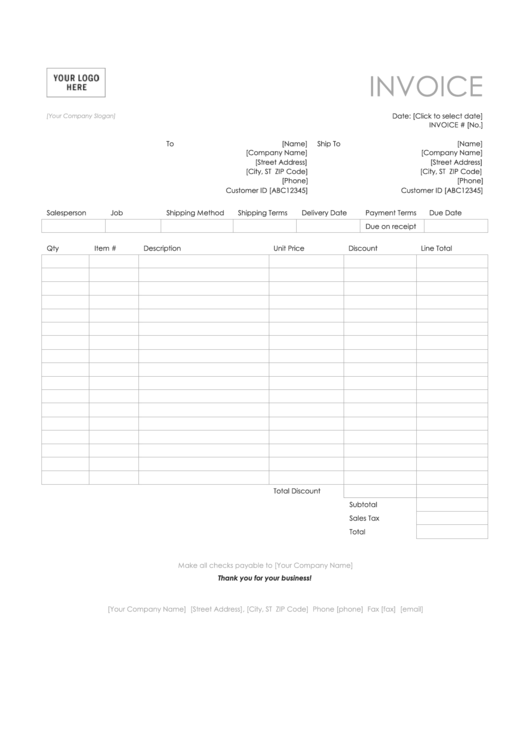 Sales Invoice Template (Simple Lines) Printable pdf