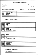 Short Budget Top Sheet Template