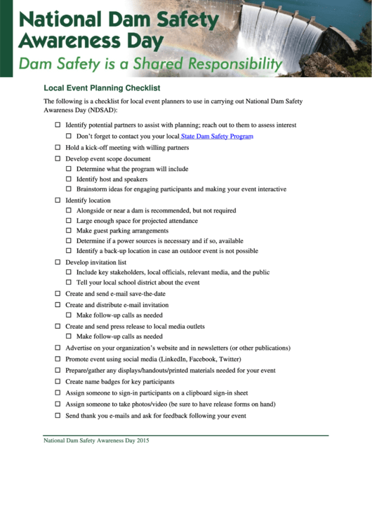 National Dam Safety Awareness Day Planning Checklist
