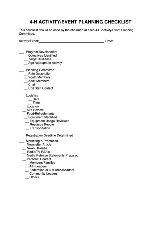 4h Activity Event Planning Checklist Template Printable pdf