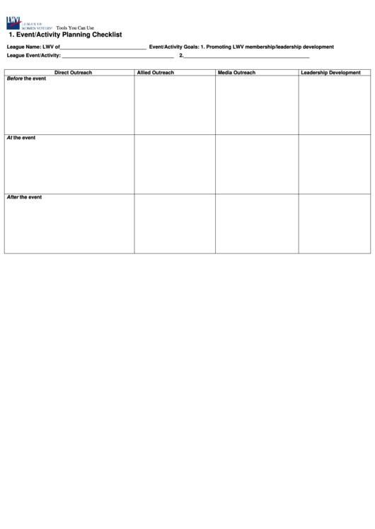 Event/activity Planning Checklist Template Printable pdf