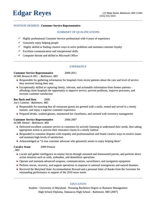Customer Service Representative Cv