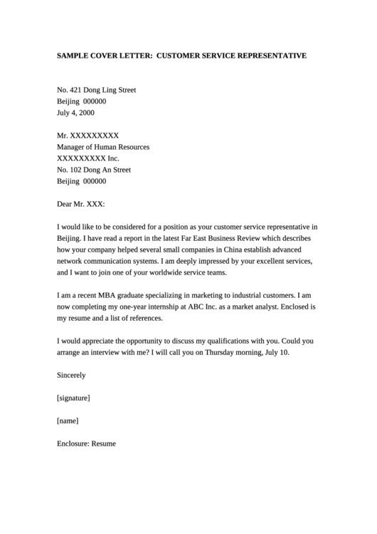 Customer Service Representative Sample Cover Letter
