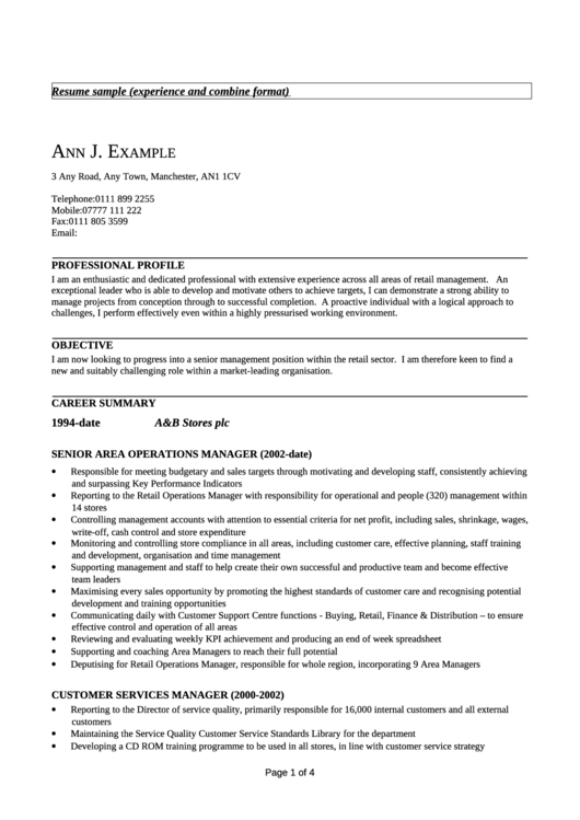 Resume Sample Printable pdf