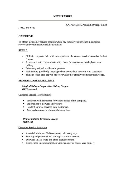 Sample Cv Template - Customer Service Representative
