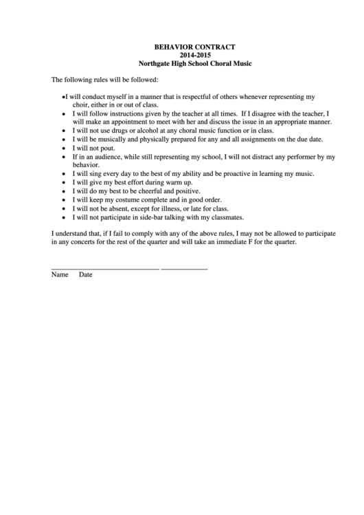Behavior Contract Template Printable pdf