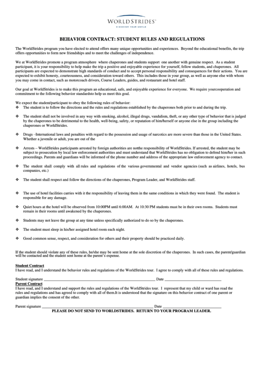 Behavior Contract Student Rules And Regulations Printable pdf