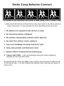 Derby Camp Behavior Contract