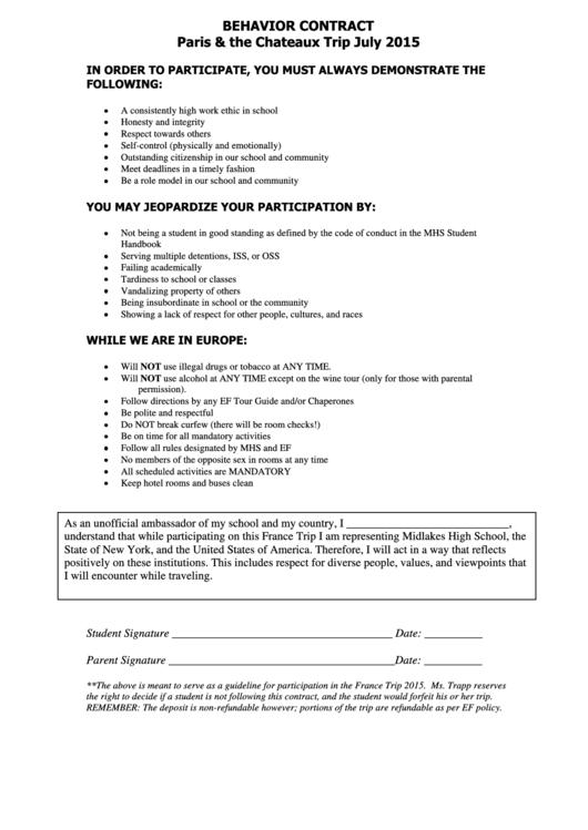 Behavior Contract 8